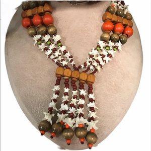 Vertebrae Wooden Bead & Birdie 70's Necklace